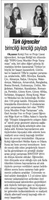 Günboyu - Türk öğrenciler birincilik ve ikinciliği paylaştılar.