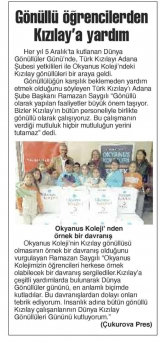 GÖNÜLLÜ ÖĞRENCİLERDEN KIZILAY'A YARDIM - Çukurova Press