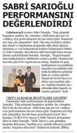 SON DAKİKA - Sabri Sarıoğlu Performansını Değerlendirdi.