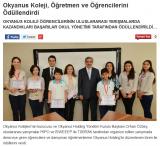 Okyanus Kolejleri'nin kurucusu ve Okyanus Holding Yönetim Kurulu Başkanı Orhan Özbey, uluslararası yarışmalar IYIPO ve ISWEEEP<br />ile TÜBİTAK tarafından organize edilen yarışmada dereceye giren öğrencilere ve danışman öğretmenlerine Okyanus Holding