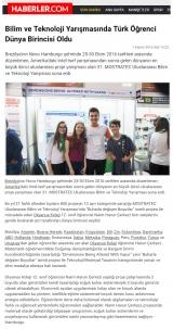HABERLER.COM - Bilim ve teknoloji yarışmasında Türk öğrenci dünya birincisi oldu