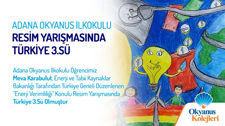 Adana Okyanus İlkokulu Resim Yarışmasında Türkiye 3.sü