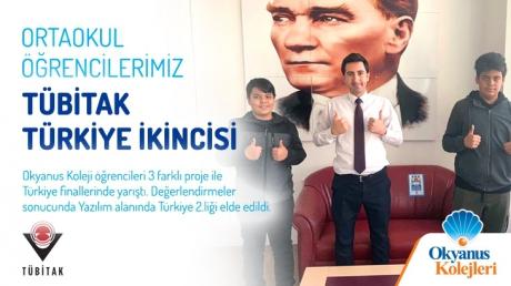 Ortaokul Öğrencilerimiz TÜBİTAK Türkiye İkincisi