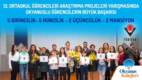 13. Ortaokul Öğrencileri Araştırma Projeleri Yarışmasında Okyanuslu Öğrencilerin Büyük Başarısı